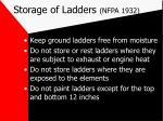 storage of ladders nfpa 1932