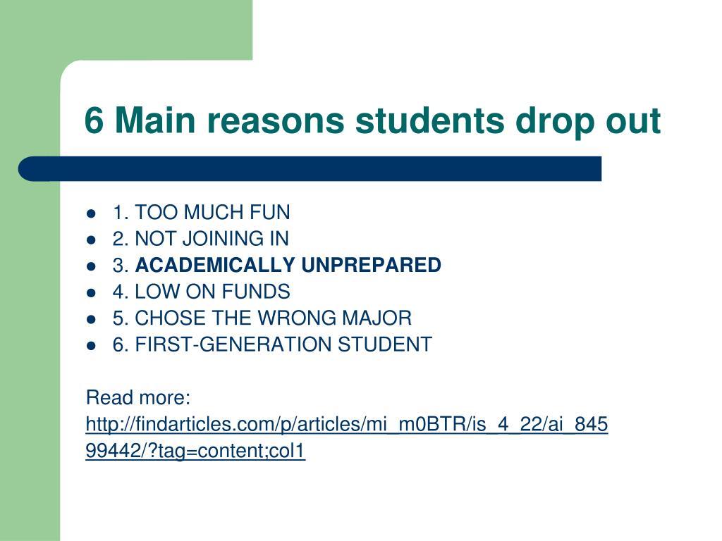 6 Main reasons students drop out