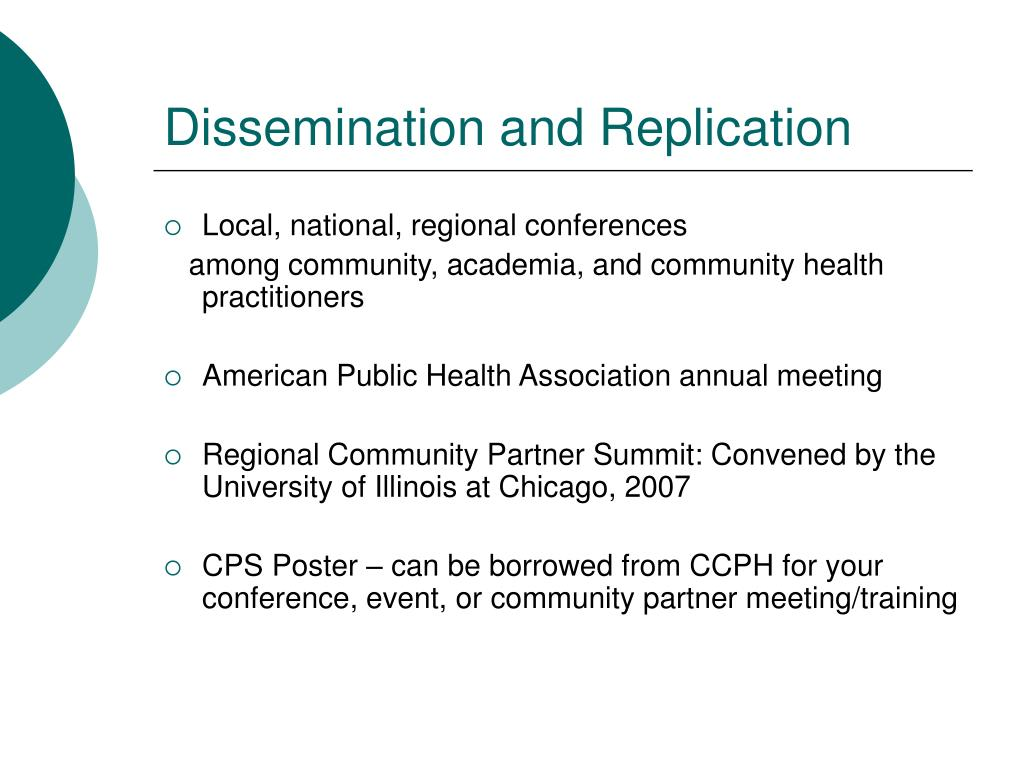 Dissemination and Replication
