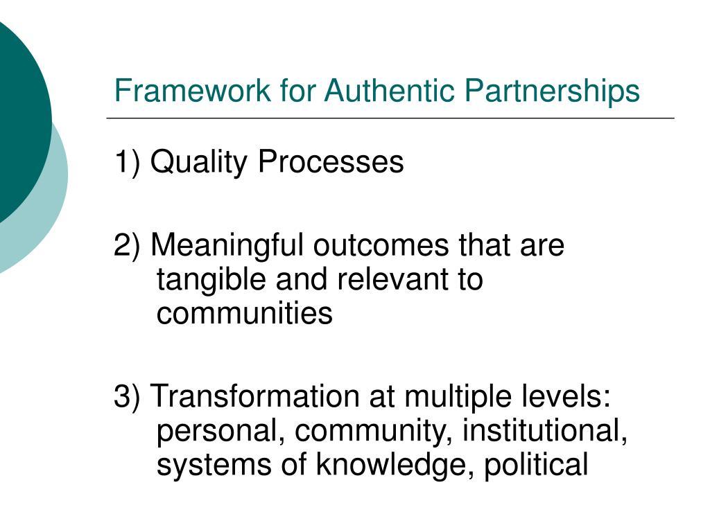 Framework for Authentic Partnerships
