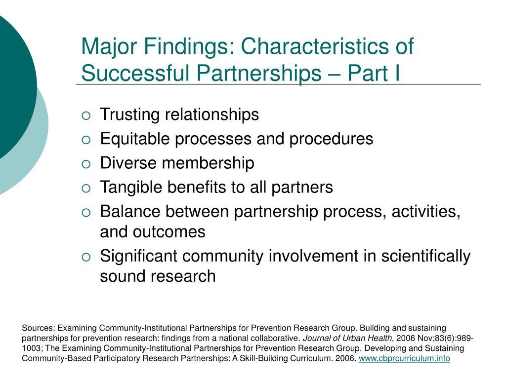 Major Findings: Characteristics of Successful Partnerships – Part I