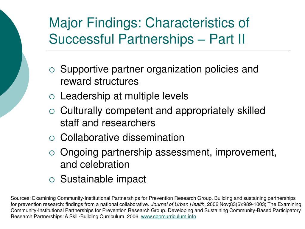 Major Findings: Characteristics of Successful Partnerships – Part II