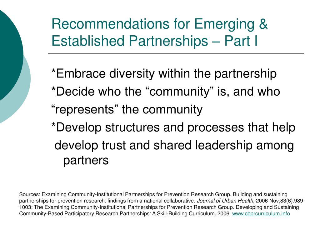 Recommendations for Emerging & Established Partnerships – Part I