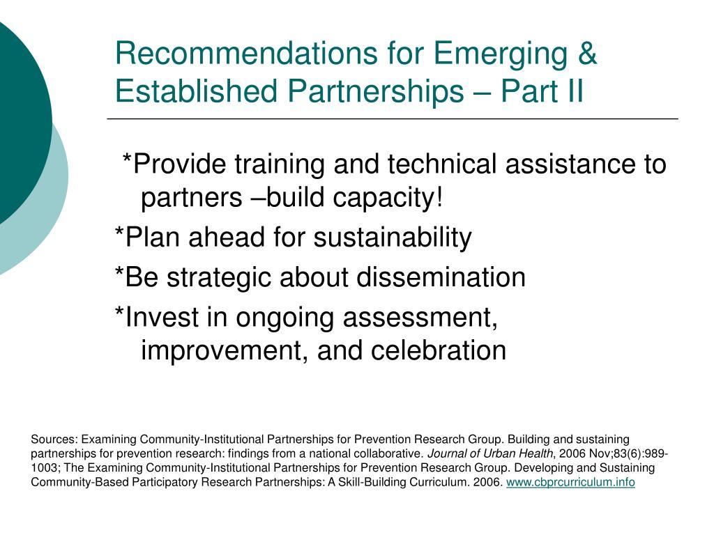 Recommendations for Emerging & Established Partnerships – Part II
