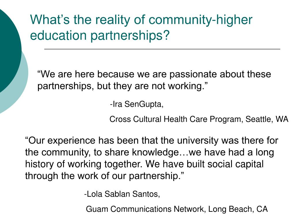 What's the reality of community-higher education partnerships?