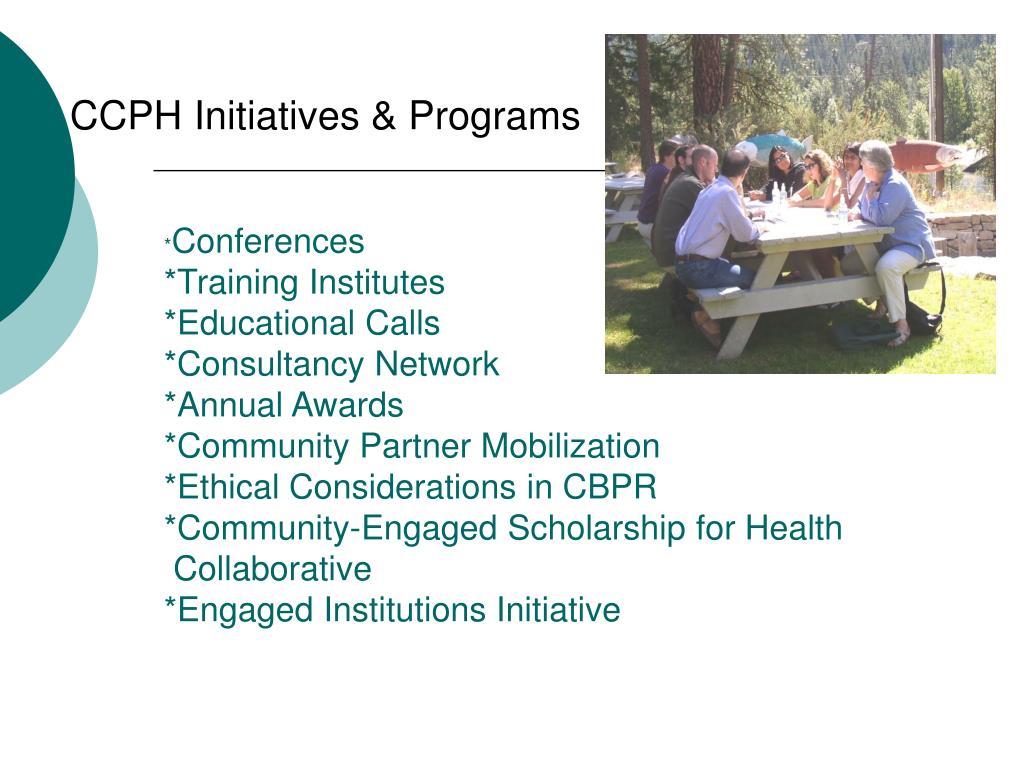 CCPH Initiatives & Programs