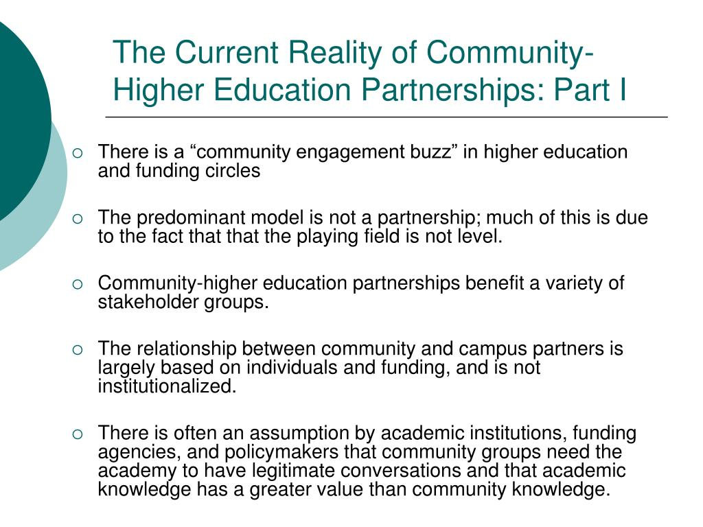 The Current Reality of Community-Higher Education Partnerships: Part I