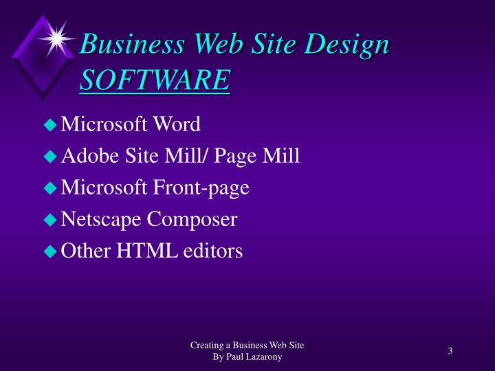 Business web site design software