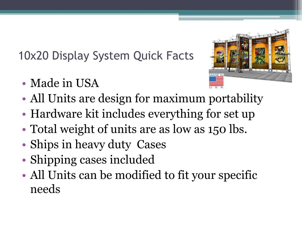 10x20 Display System Quick Facts
