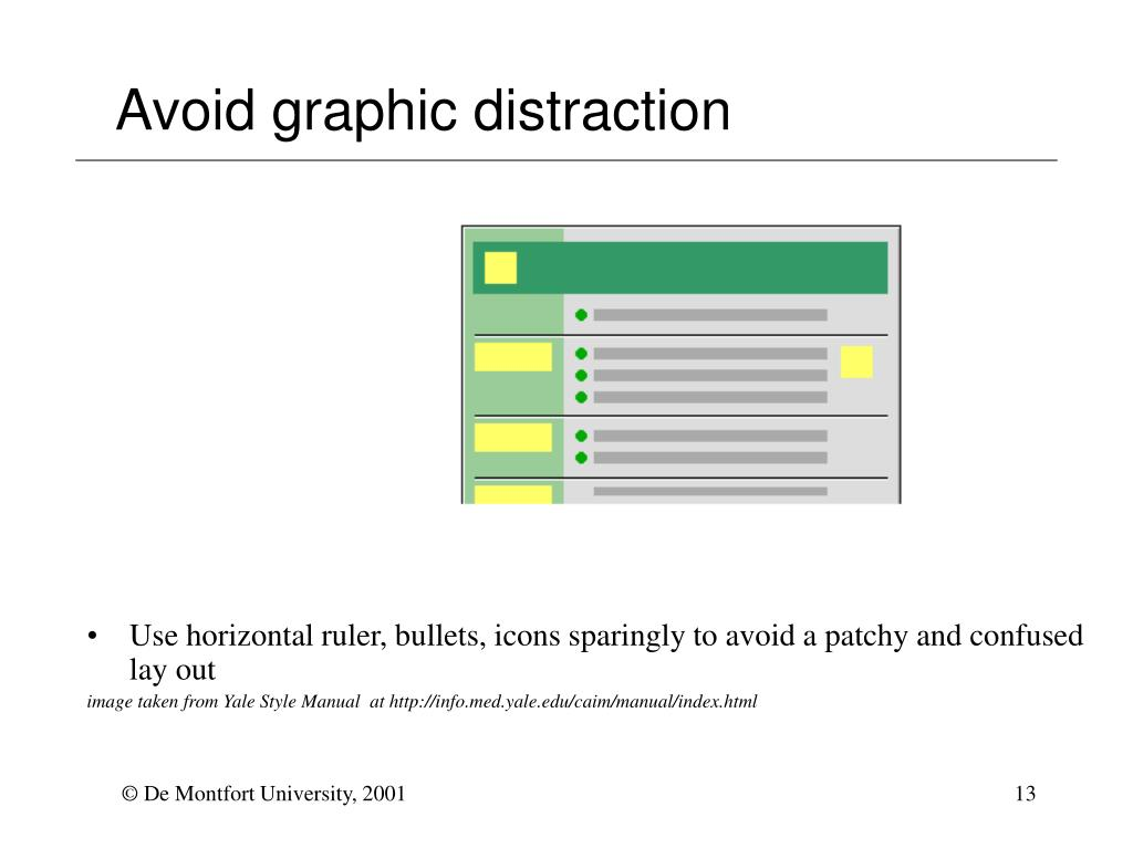 Avoid graphic distraction