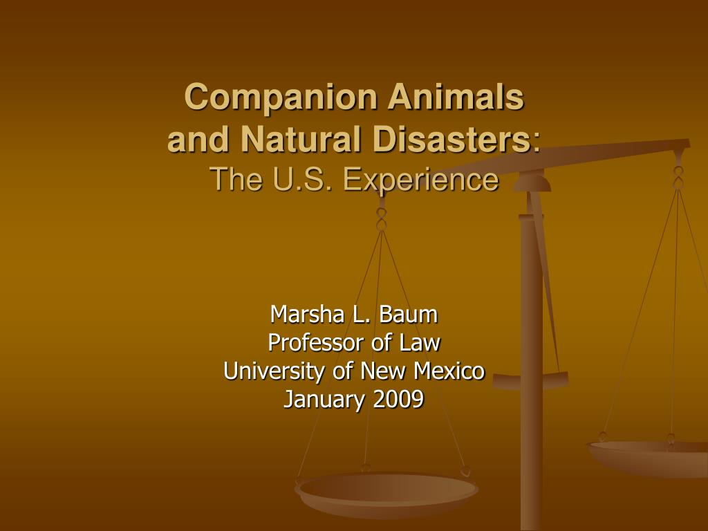 companion animals and natural disasters the u s experience l.