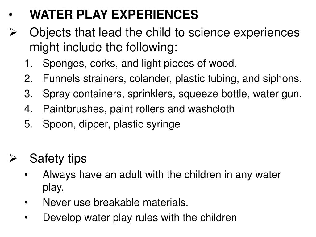 WATER PLAY EXPERIENCES