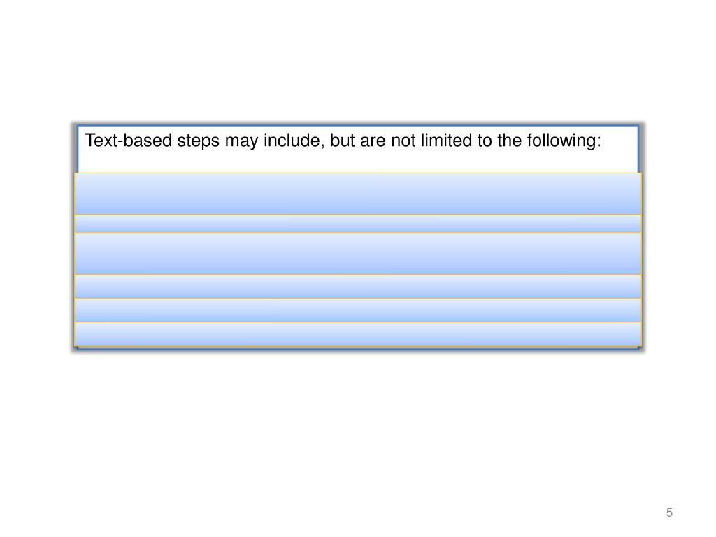 Text-based steps may include, but are not limited to the following: