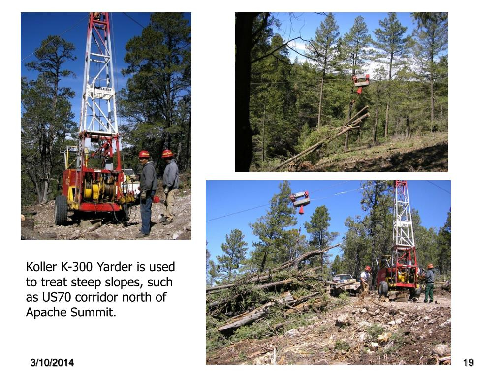 Koller K-300 Yarder is used to treat steep slopes, such as US70 corridor north of Apache Summit.