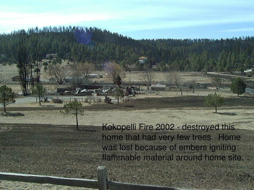 Kokopelli Fire 2002 - destroyed this home that had very few trees.  Home was lost because of embers igniting flammable material around home site.