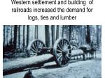 western settlement and building of railroads increased the demand for logs ties and lumber