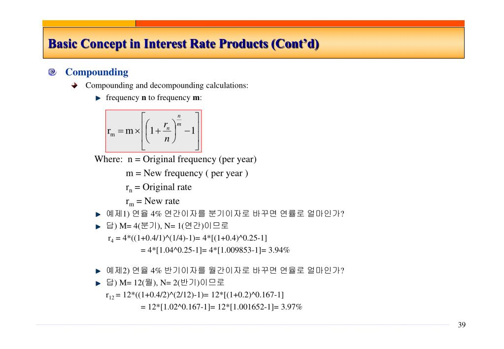 Basic Concept in Interest Rate Products (Cont'd)