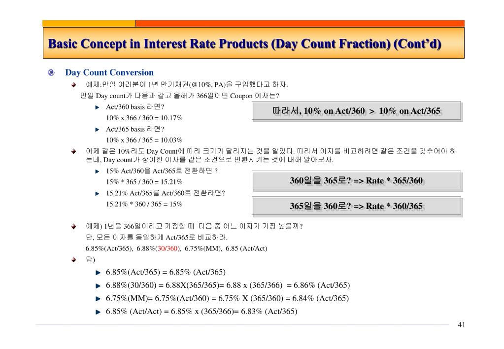 Basic Concept in Interest Rate Products (Day Count Fraction) (Cont'd)