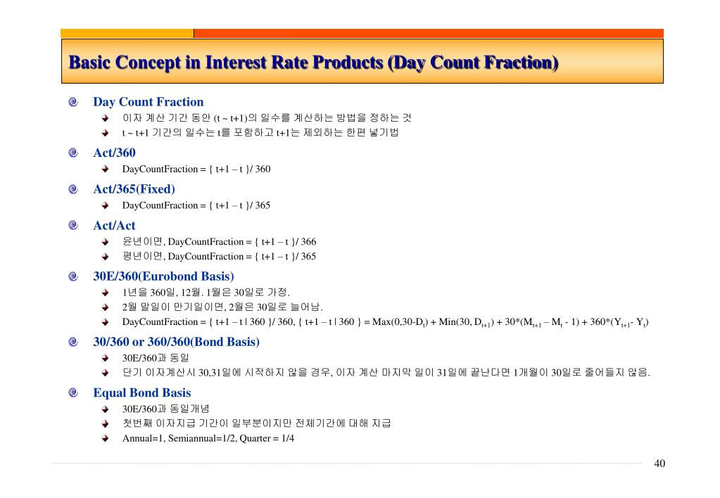 Basic Concept in Interest Rate Products (Day Count Fraction)