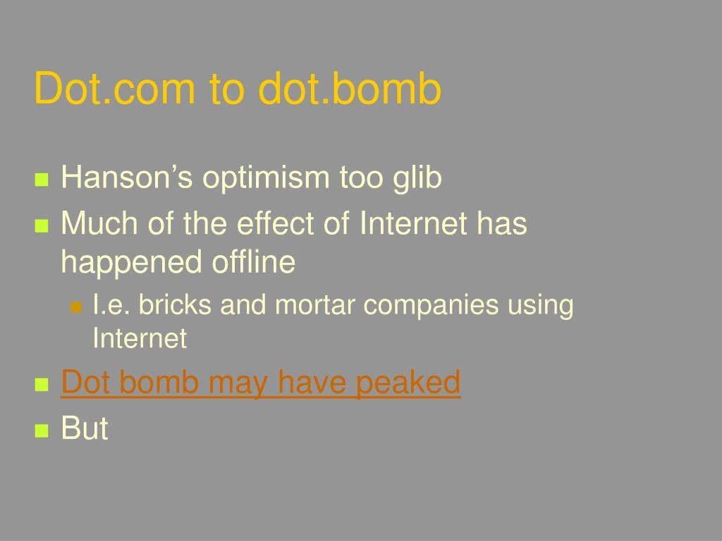 Dot.com to dot.bomb