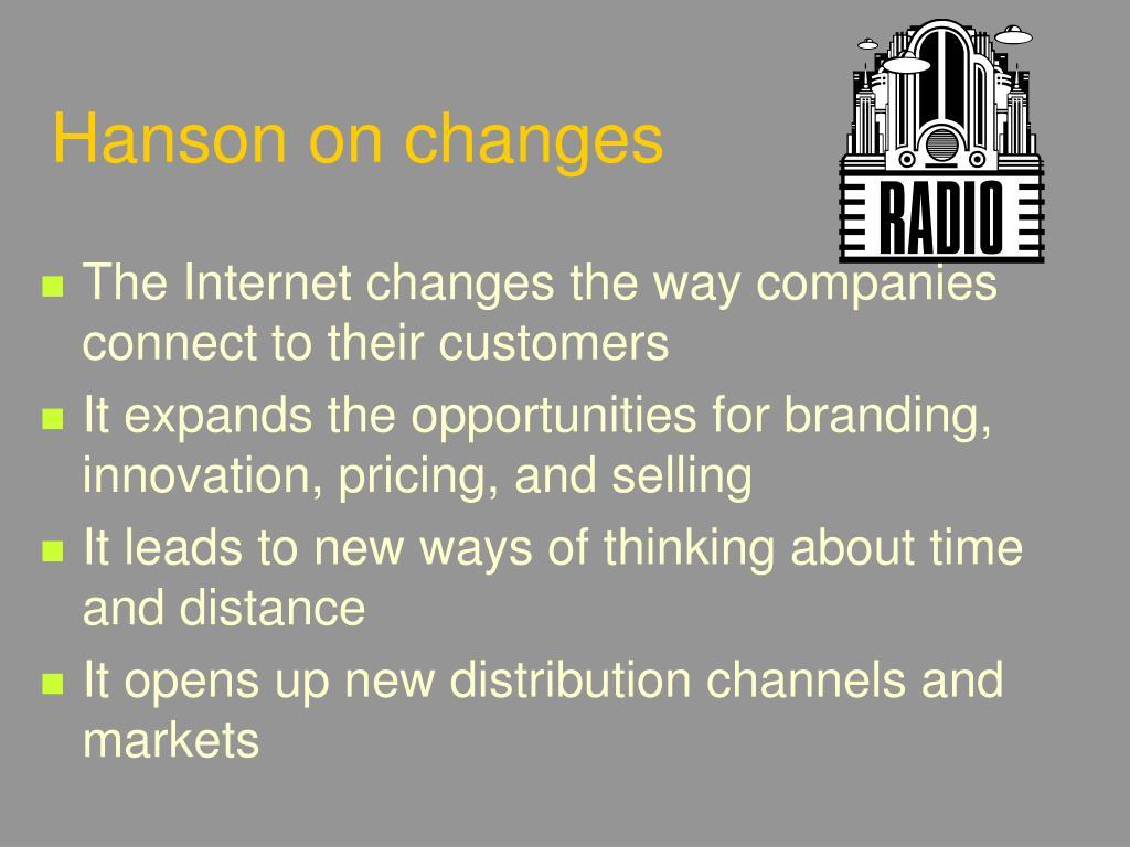 Hanson on changes