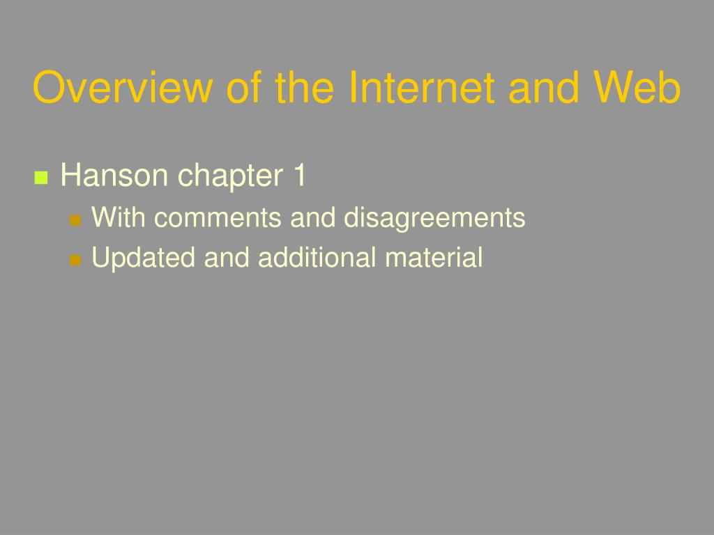 Overview of the Internet and Web