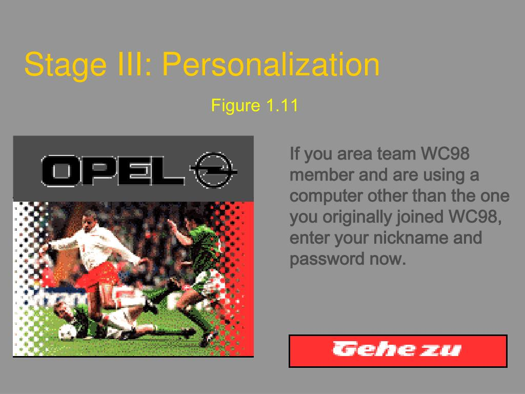 Stage III: Personalization