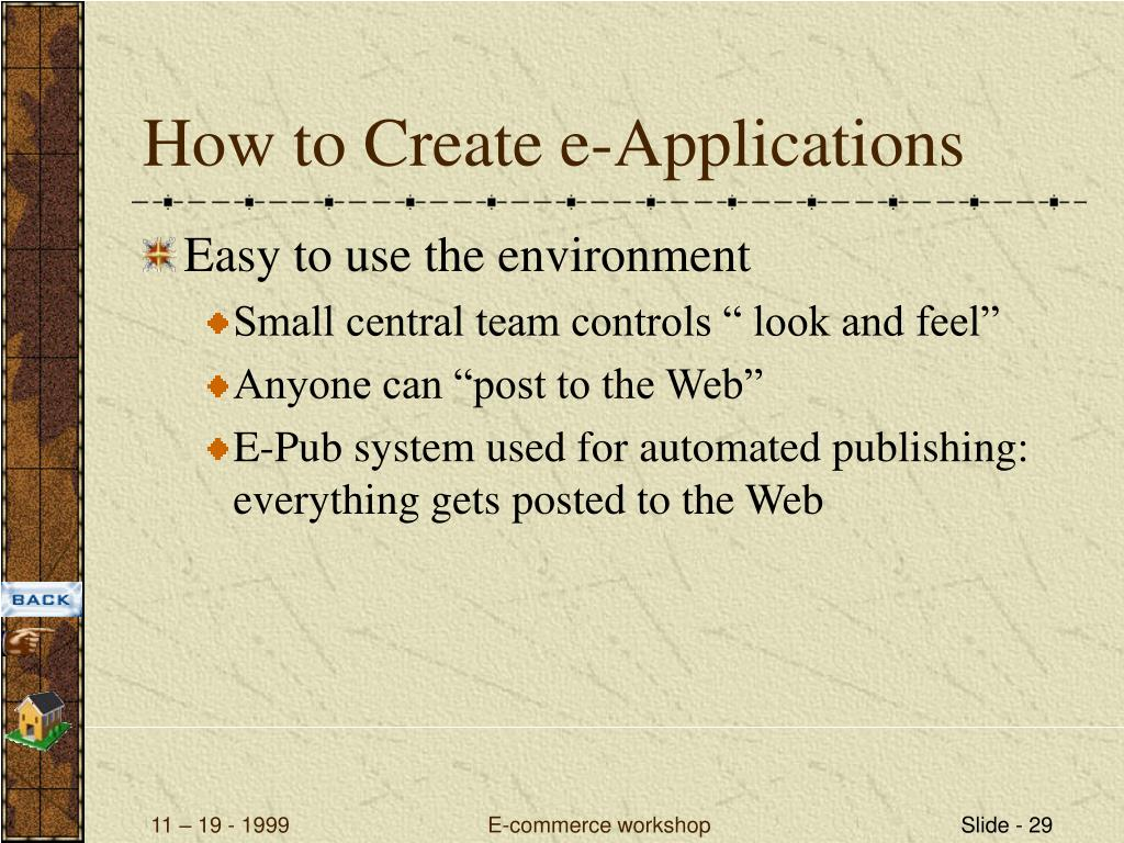 How to Create e-Applications