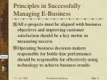 principles in successfully managing e business