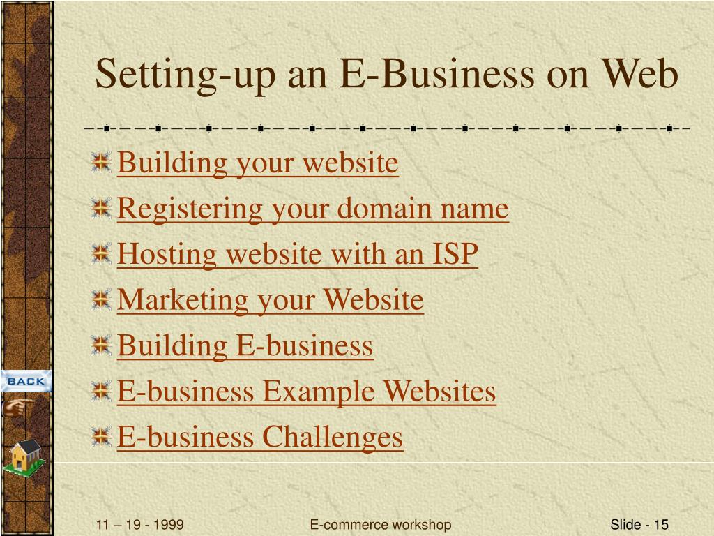 Setting-up an E-Business on Web