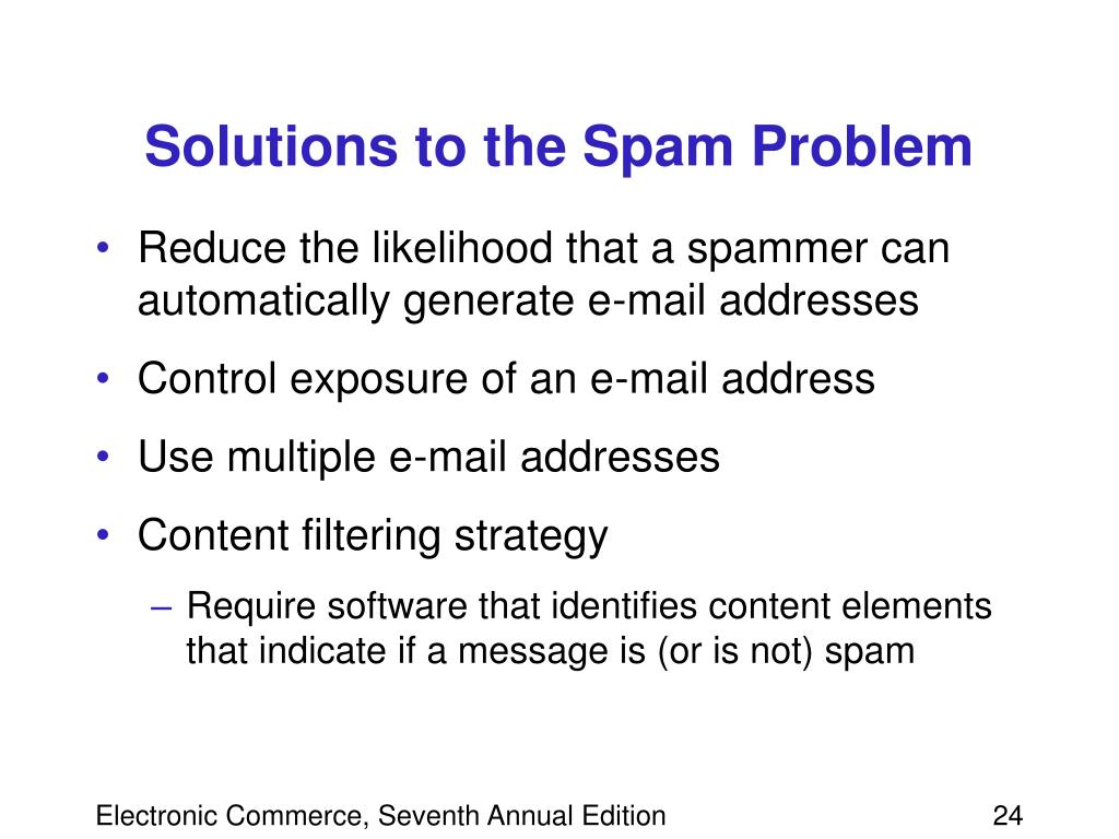 Solutions to the Spam Problem