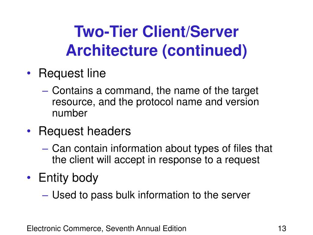 Two-Tier Client/Server Architecture (continued)