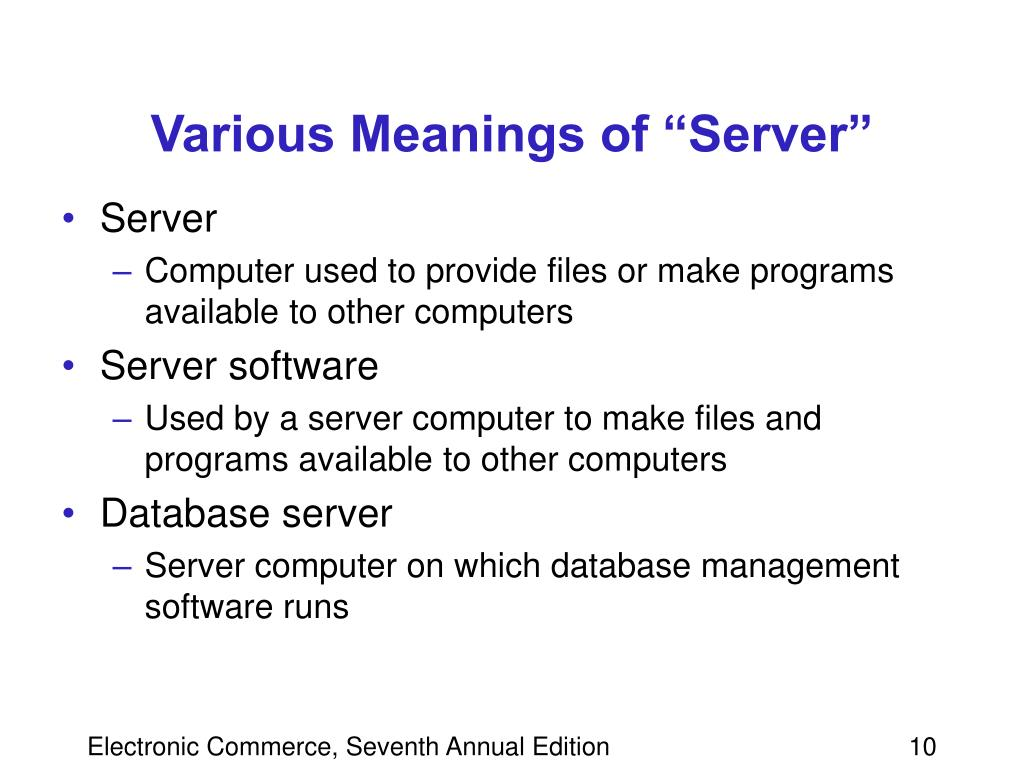 "Various Meanings of ""Server"""