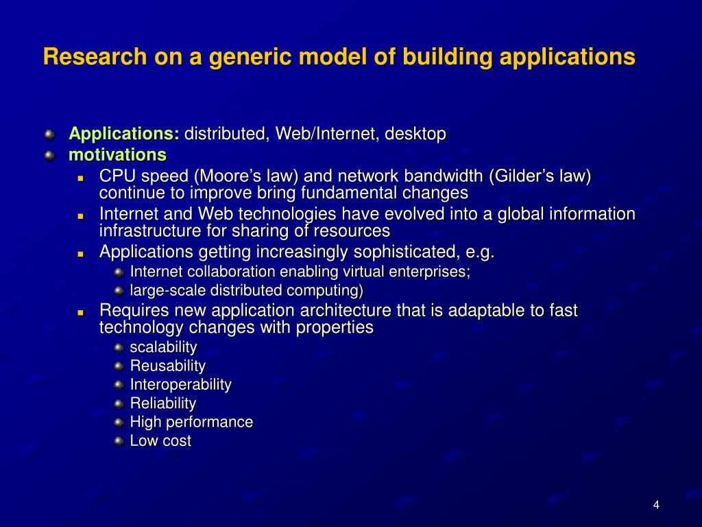 Research on a generic model of building applications