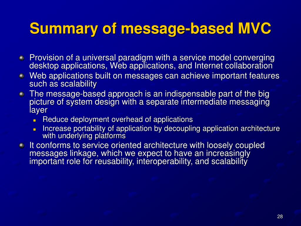 Summary of message-based MVC
