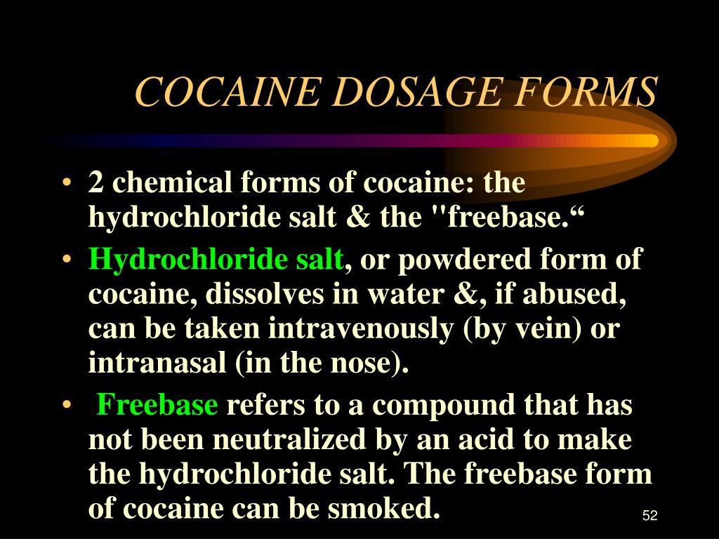 COCAINE DOSAGE FORMS