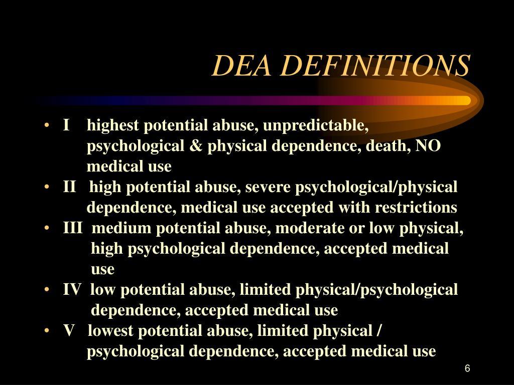 DEA DEFINITIONS