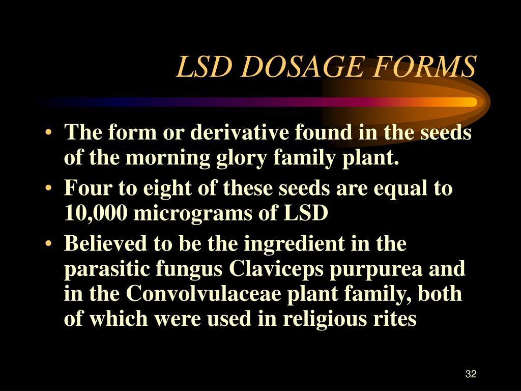 LSD DOSAGE FORMS
