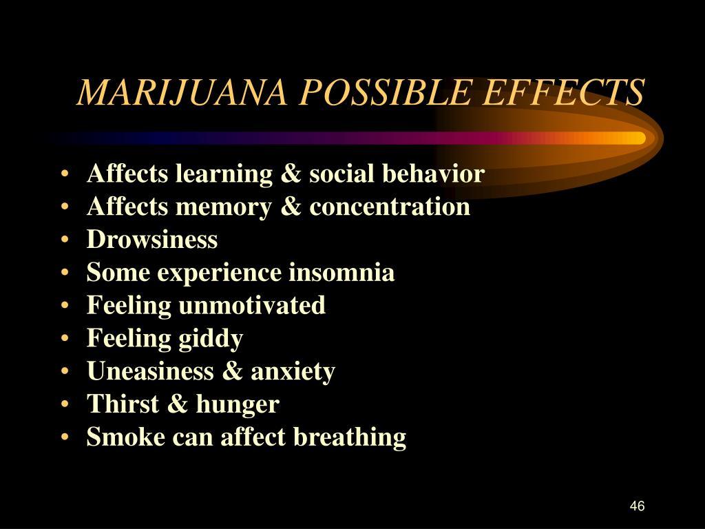 MARIJUANA POSSIBLE EFFECTS