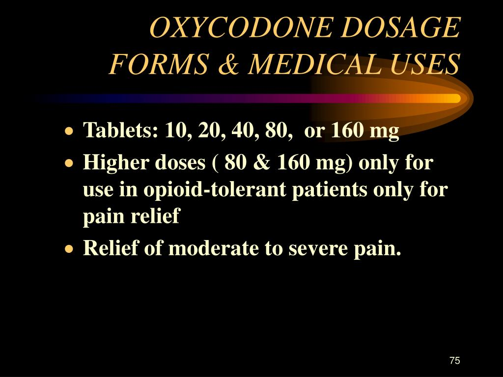 OXYCODONE DOSAGE FORMS & MEDICAL USES