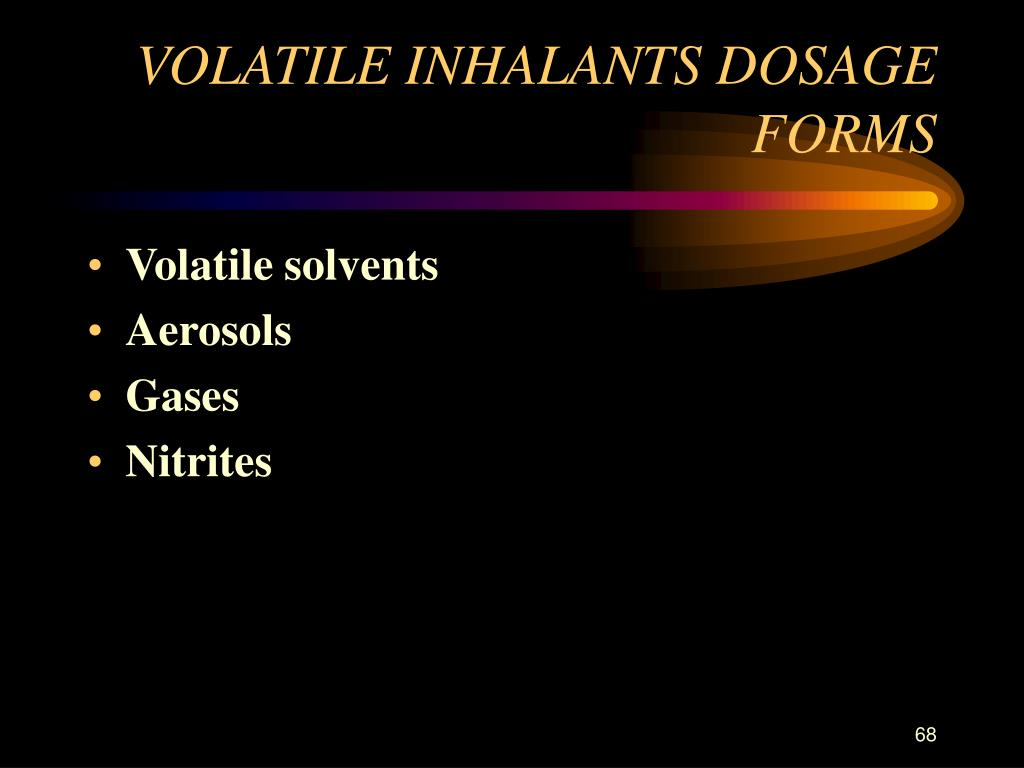 VOLATILE INHALANTS DOSAGE FORMS