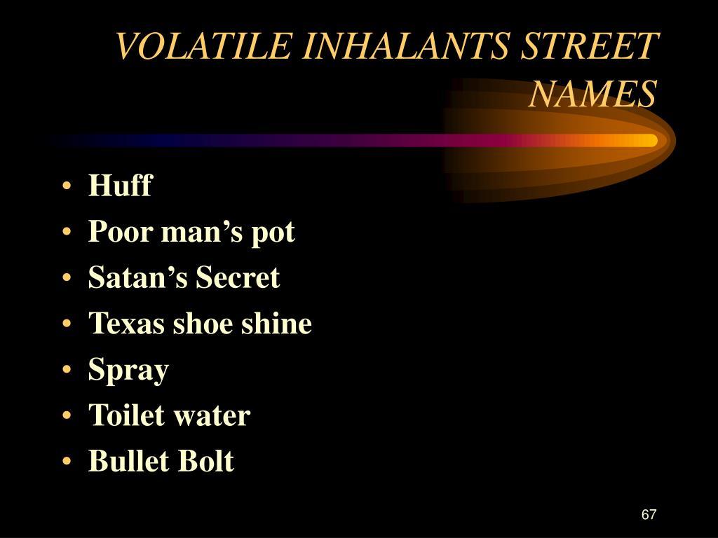 VOLATILE INHALANTS STREET NAMES
