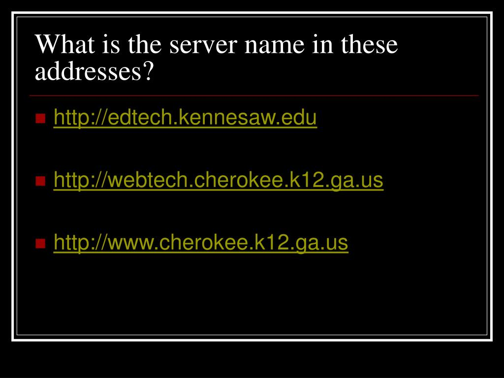 What is the server name in these addresses?