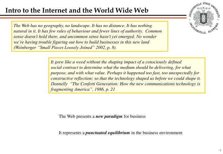 Intro to the internet and the world wide web
