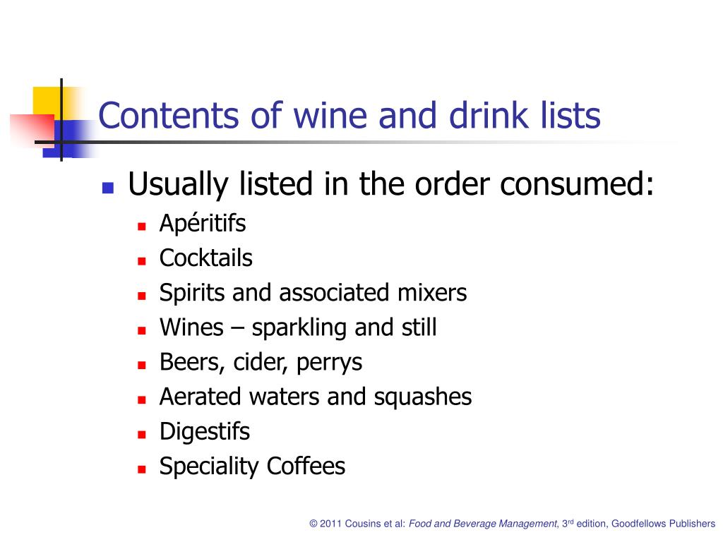 Contents of wine and drink lists