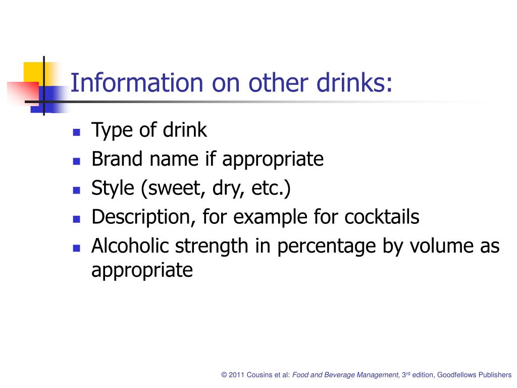 Information on other drinks: