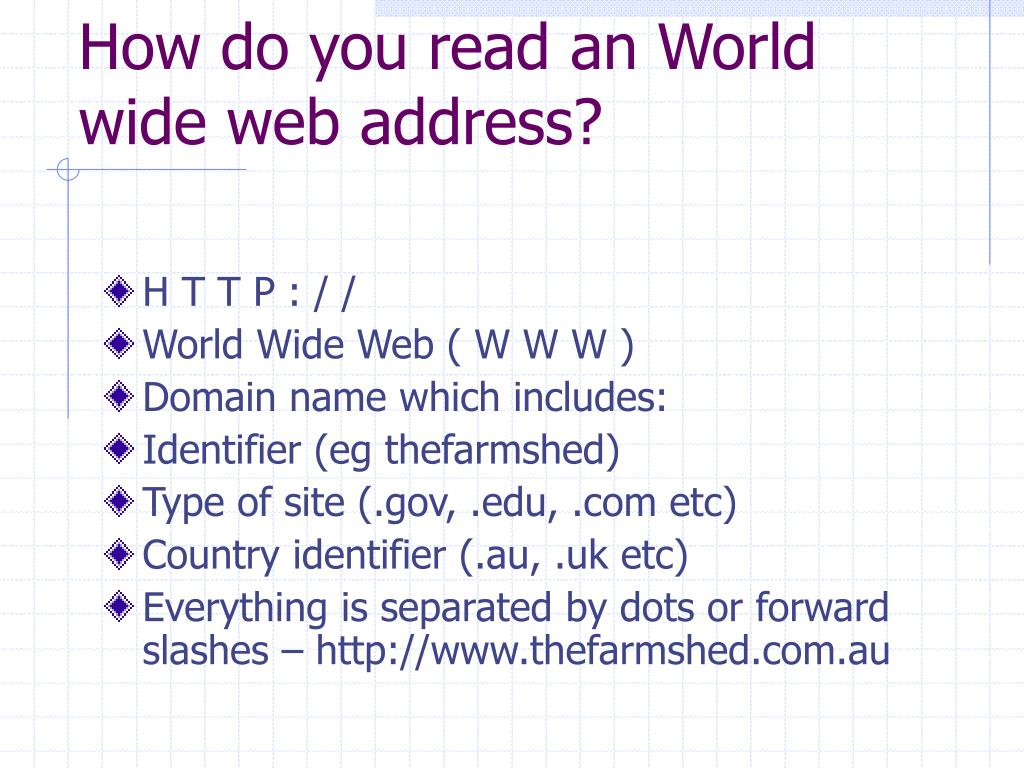 How do you read an World wide web address?