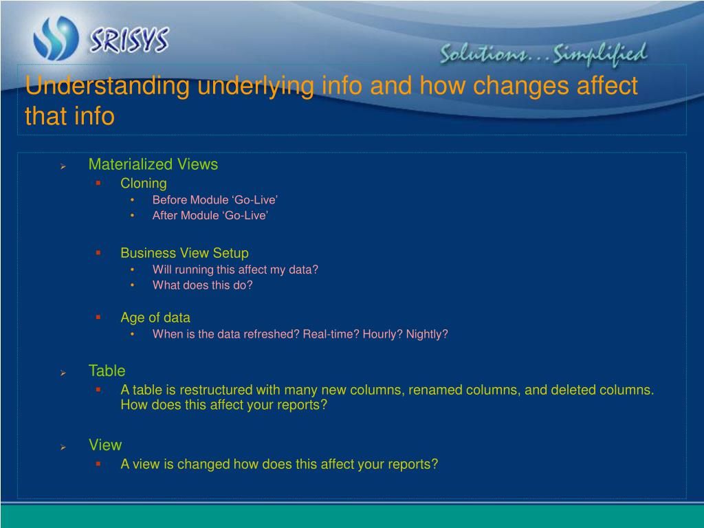 Understanding underlying info and how changes affect that info
