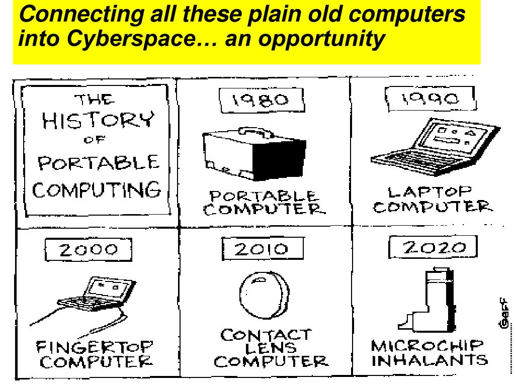 Connecting all these plain old computers into Cyberspace… an opportunity