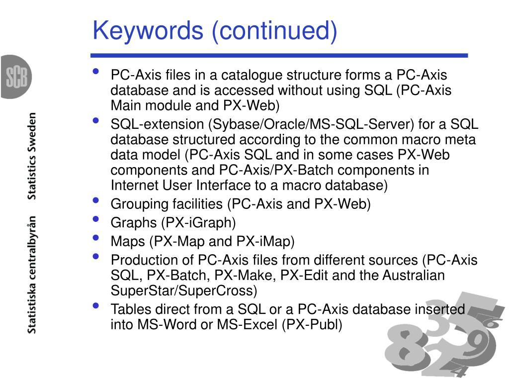 Keywords (continued)